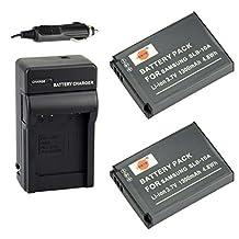 DSTE® 2x SLB-10A Battery + DC23 Travel and Car Charger Adapter for Samsung P800 P1000 PL51 PL55 SL720 SL820 ES55 ES60 EX2F HMX-U20 HZ10W HZ15W M110 NV9 Camera