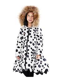 Tortor 1Bacha Kid Girls' Fur Hooded Dots Print Winter Down Long Swing Dress Coat