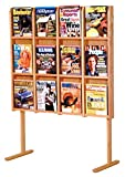 Wooden Mallet Divulge 12 Magazine Floor Display, Light Oak