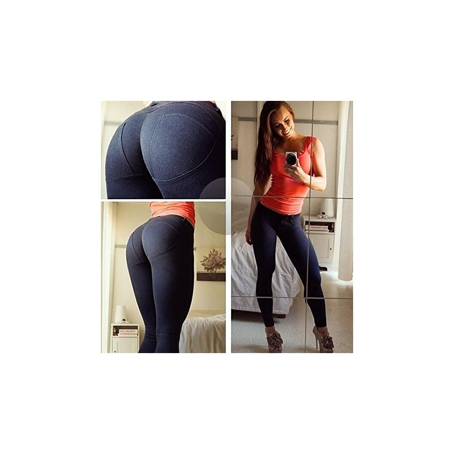 BLUEHUO Women Low Waist Leggings Push Up Sexy Hip Solid Trousers For Women Fashion Elastic Leggings