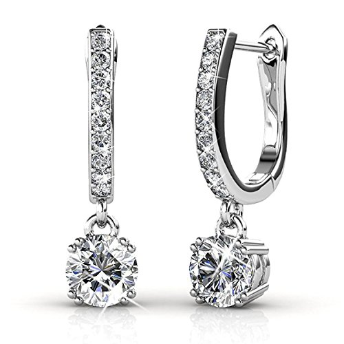 Belle & Lily Hoop Loop Earrings 18K White Gold with Swarovski Element Crystal Sparking for Women Girl Mother Wife (E-DangleB)