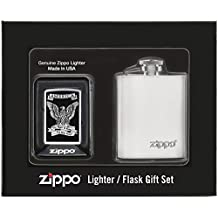 Zippo Lighter and Flask Gift Set - The Right to Bear Arms, High Polish Chrome