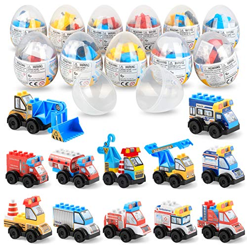 SmilePowo 12 Pack Mini Car Toys,Mini Trucks,Surprise Egg,Toys Pull Back Vehicles,Children's Educational Toys,for Boys Kids Child Party ,Christmas Favors,CPSC Certification (Kinder Surprise Eggs With Toy)