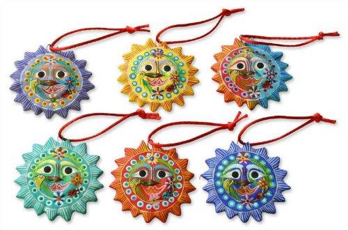 (NOVICA Decorative Moon Lord of The Sun' (Set of 6) Ceramic Ornaments)