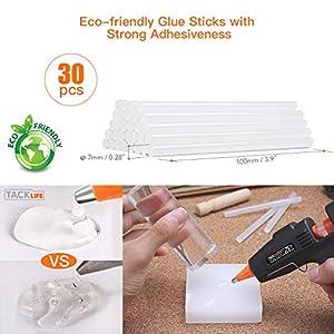 Tacklife GGO20AC Mini Hot Glue Gun with 30 Pcs EVA Glue Sticks | 20w | Flexible Trigger High Temp Overheating Protection and Heating up Quickly Hot Melt Glue Gun for DIY Small Craft and Quick Repairs