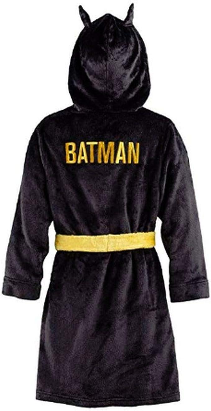 Batman Bruce Wayne Toddler Boys Luxe Velour Fleece Hooded Bathrobe Robe