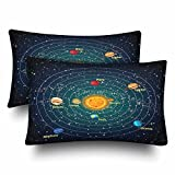 InterestPrint Solar System Playtime Educational Sun Planets Stars Pillow Cases Pillowcase Standard Size 20x30 Set of 2, Rectangle Pillow Covers Protector for Home Couch Sofa Bedding Decorative