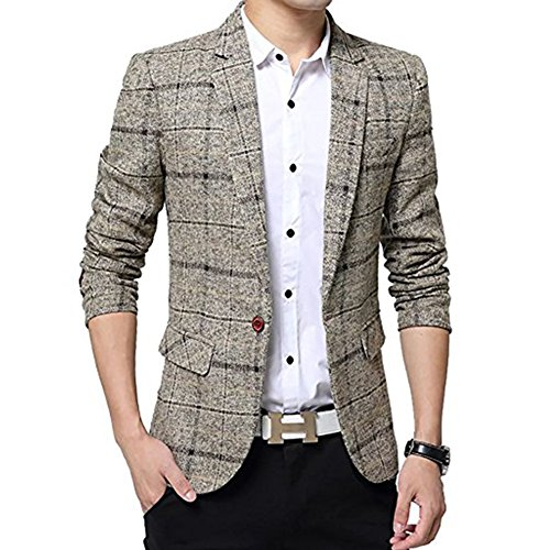 SITENG Men's Tweed Plaid Blazer Jacket Casual Business Long Sleeve One Button Slim Fit Suits Single-Breast Sport Coat Outwear