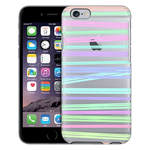 Apple iPhone 6 Case, Slim Fit Snap On Cover by Trek Neon Stripe Clear Case