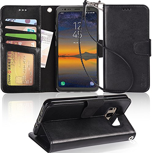 Galaxy S8 Active case,Arae [Wrist Strap] Flip Folio [Kickstand Feature] PU Leather Wallet case with ID&Credit Card Pockets for Samsung Galaxy S8 Active (not for s8),Black