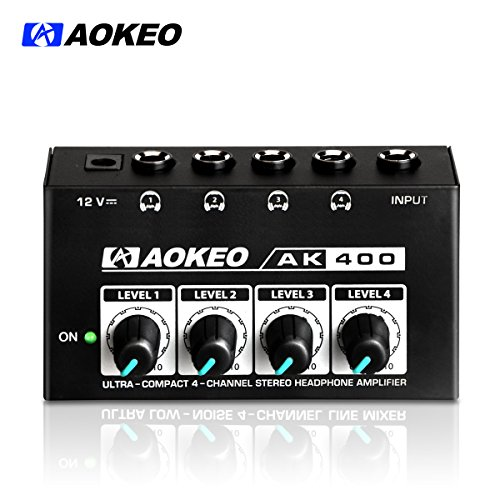 Studio Headphone Amps (Aokeo Super Compact 4-Channel Stereo Headphone Amplifier with DC 12V Power Adapter for Sound Reinforcement, Studio, Stage, Choir, Features Ultra Low Noise, Premium Sonic Quality (AK-400))