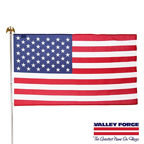 Valley Forge, American Flag Kit, Poly-Cotton, 3' x 5', 100% Made in USA, Grommeted Flag, 6' Steel Pole and - American Forge Valley Flags