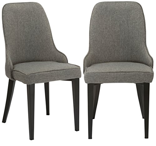 Set Upholstery Back (BTEXPERT Classic Fabric Upholstery Dining Chairs, Set of 2, Grey)