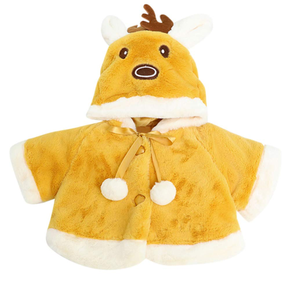 Little Kids Winter Warm Coat,Jchen(TM) Baby Kids Little Girl Christmas Costume Deer Hooded Cloak Cape Robe Coat Keep Warm Outerwear for 0-24 Months (Age: 12-18 Months, Yellow)