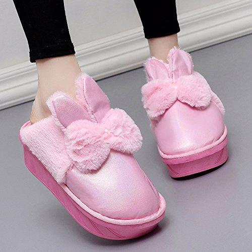 Inverno fankou spesse pantofole di cotone home soggiorno in camera pacchetto con tacco alto Cartoon carino caldo non-slip ,36-37, rosa mezza pensione