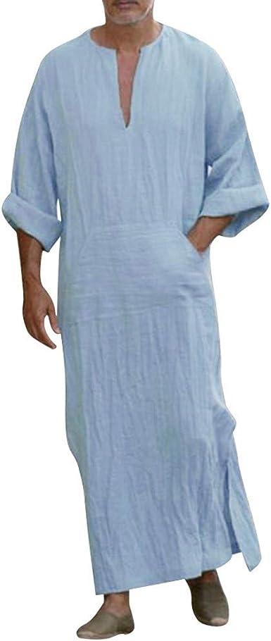 Amlaiworld Hombres Vestidos de algodón y Lino Hombres Color sólido ...