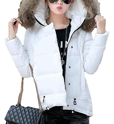Fur amp;S White amp;W Padded Jackets Collar M Warm Women's Down Puffer FIxAwAdq