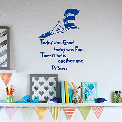 Dr Seuss Quotes Today Was Good Today Was Fun Tomorrow Is Another OneDr Seuss Nursery Wall Art Kids Playroom Decor Q068 Inspirational Wall Decal Church wall decal, Daycare wall decal, -