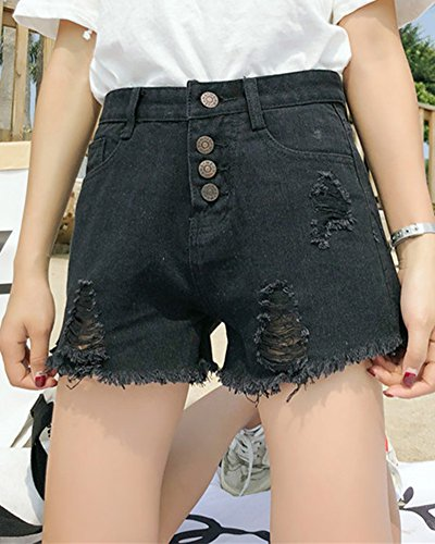 Strappata Kasen Corti Di Pantaloncini Jeans Nero Donna qTwTUSzd