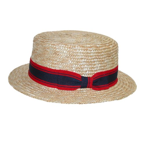 Jeanne Simmons Straw 2 Inch Brim Grosgrain Band Boater Hat, (Gatsby Mens Dress)