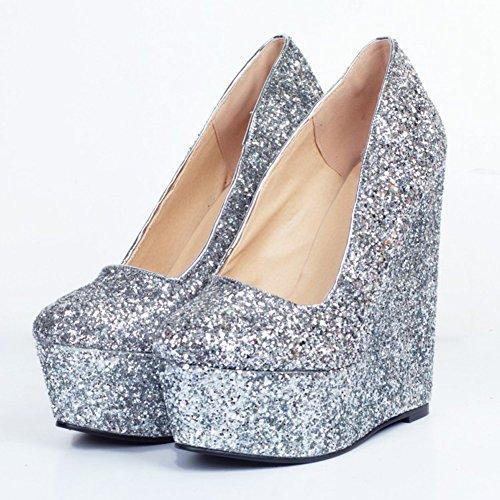Kolnoo 15cm auf Beleg Pumpen Faschion Schuhe Damen Absatz Wadge Partei Funkeln Plattform rwBrqf