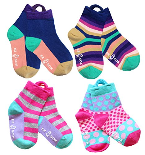 Girls, Toddler Socks with Easy Pull Loops Seamless toe (3-5 yr, Purple Multi-Pink (Pull Up Socks)