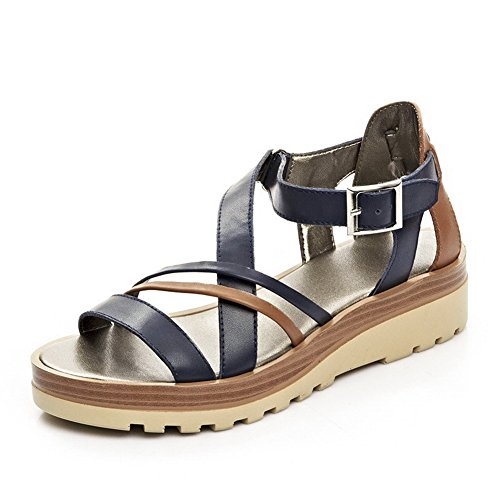 AllhqFashion Womens Round Toe Cow Leather Low Heels Solid Sandals with Metal Ornament Blue AM25EmbMwL