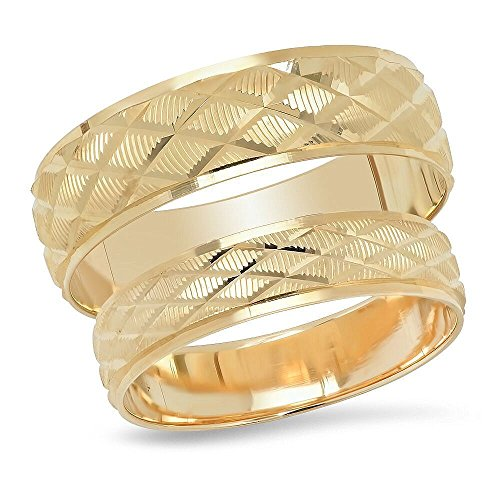14K Solid Yellow Gold His & He