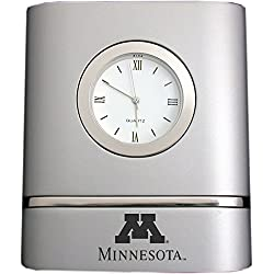 University of Minnesota- Two-Toned Desk Clock -Silver