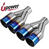 """Upower Pack of 2 Dual 2.5 Inch Inlet 3.5"""" Outlet Exhaust Tip Tail Pipe Blue Burnt 304 Polished Stainless Steel 10.5"""" Long Weld-on"""