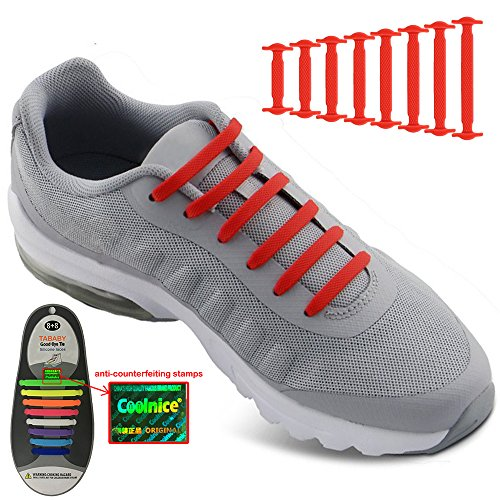 No Tie Shoelaces for Men and Women - Best in Sports Fan Shoelaces – Waterproof Silicon Flat Elastic Athletic Running Shoe Laces with Multicolor for Sneaker Boots Board Shoes and Casual Shoes (Red)