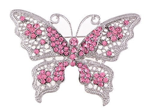 (Alilang Pink Tone Clear Crystal Rhinestone Filigree Butterfly Brooch Pin)