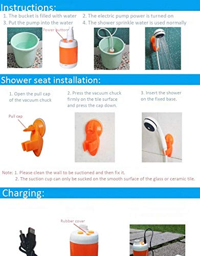 Iron Hammer Portable Shower Camp Shower Rechargeable Shower high Capacity 4800mAh Camping Shower pet Shower Model:ES01