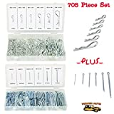Power Auto Hitch Pin Clip Assortment & Cotter Pin Value Assortment 705pcs - DIY Trailer Pin, Hair Pin - Set Of Hitch & Cotter Keys - Fasteners Clips To Repair Equipment, Lawn Mower, Small Engine, Cars