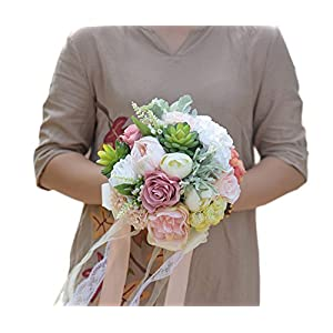 MOJUN Bridal Bridesmaid Hold Flower Wedding Bouquet Flowers Rose Penoy Dahli with Succulent Plants Simulation Wedding Decoration 44