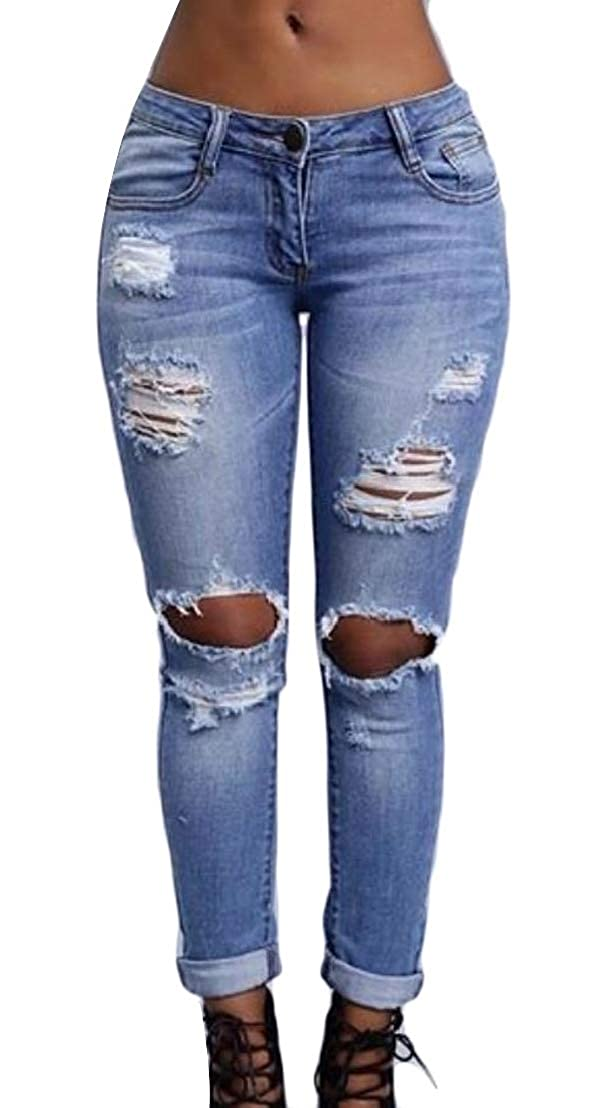 Wofupowga Womens Jeans Distressed High Waist Stretch Joggers Denim Ripped Hole Pants