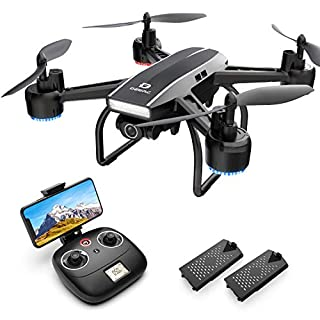 DEERC D50 Drone for Adults with 2K UHD Camera FPV 120° FOV 1080P Live Video, Waypoints, Altitude Hold, Headless Mode, Gesture Selfie, 4 Speed Mode, Gravity Sensor, RC Quadcopter with 2 Batteries