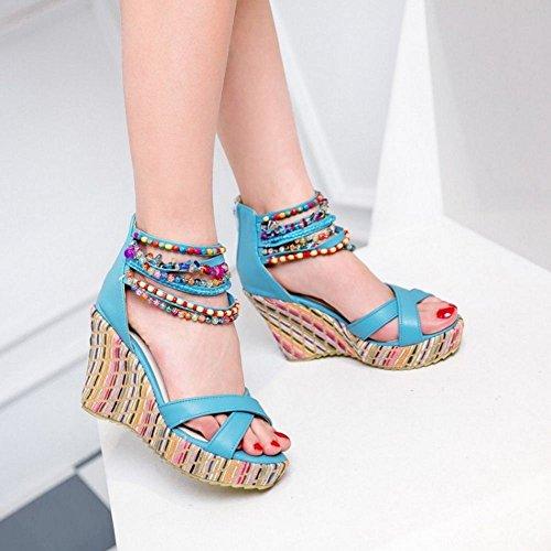 Sandales Mode La Cheville Pour La Bleu À Vulusvalas Femmes À FCqCp