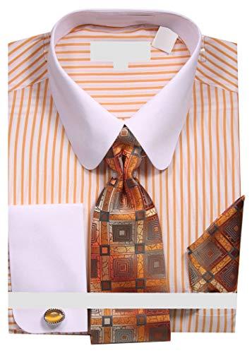 Sunrise Outlet Men's Pinstripe Dress Shirt with Tie Handkerchief Cufflinks - Mustard 16.5 ()