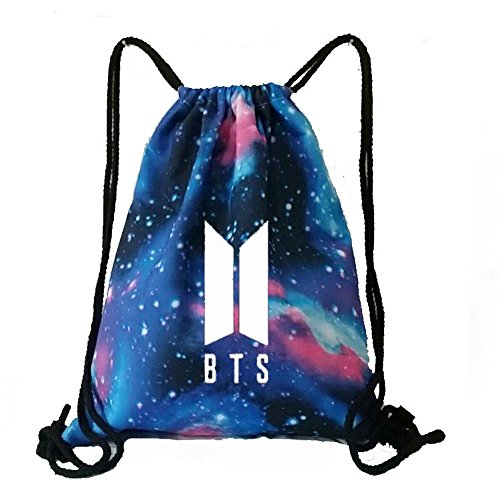 - KPOP BTS Bangtan Boy Galaxy Drawstring Bag Backpack Starry BTS New Logo Shoulder Bag Gym Bag