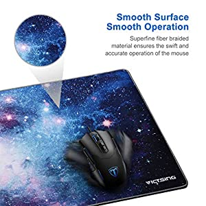 VicTsing [30% Larger] Extended Gaming Mouse Pad with Stitched Edges, Long XXL Mousepad (31.5×15.7In), Desk Pad Keyboard Mat, Non-Slip Base, Water-Resistant, for Work & Gaming, Office & Home, Galaxy