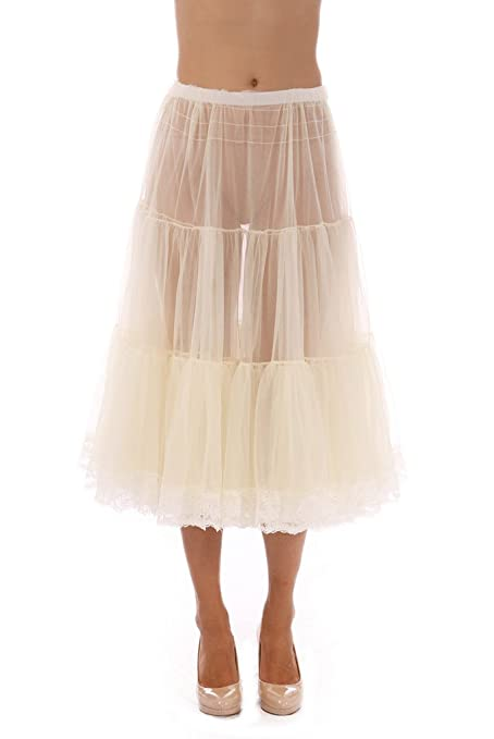 Retro Lingerie – Where to Shop Soft Tea-Length Chiffon Crinoline Petticoat Underskirt Full Slip w/ Lace $49.99 AT vintagedancer.com