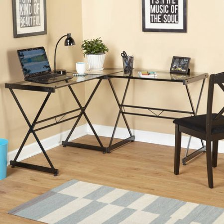 Atrium Metal and Glass L-shaped Computer Desk, TMS 22907BLK, Clear TMS 22907BLK