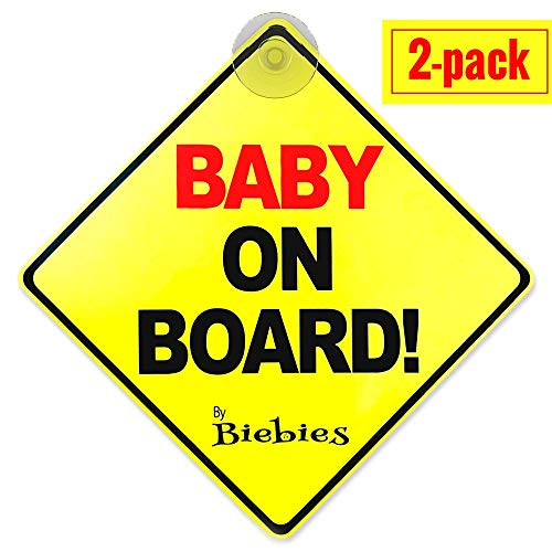 Biebies Baby on Board Suction Cup Sticker Decal for Cars - Bold & Visible - Portable & Removable - Weather Resistant - Alert Other Drivers You Have a Baby in the Car (2 Pack)