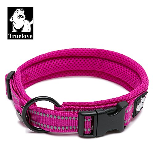 TRUE LOVE Dog Collar Reflective Premium Duraflex Buckle,High Grade Nylon Webbing No Choke Basic Collars Truelove TLC5011(Fushcia,2XL)