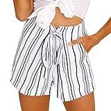 Jushye Women s Beach Shorts, Sexy Striped Hot Pants Summer Casual Lace up Short Pants (White, L)