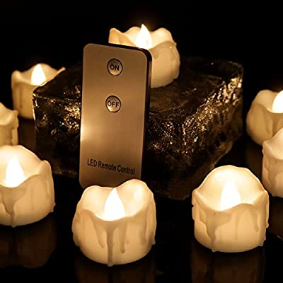 Youngerbaby Warm White Flickering LED Tea Light Candles, Flameless Wax Dripped with Remote Control Battery-Powered Tealights For Wedding, Christmas, Outdoor Party, Dinner Table, Back Yard