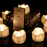 Youngerbaby Warm White Flickering LED Tea Light Candles, Flameless Wax Dripped with Remote Control Battery-Powered Tealights For Wedding, Christmas, Outdoor Party, Dinner Table, Back Yard 12 PCS