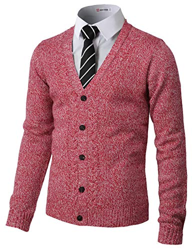- H2H Mens Soft V-Neck Button Down with Twisted Patterned Cardigans RED US 2XL/Asia 3XL (CMOCAL027)