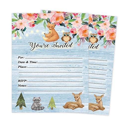 Woodland Baby Shower Invitations Set of 20 with envelopes